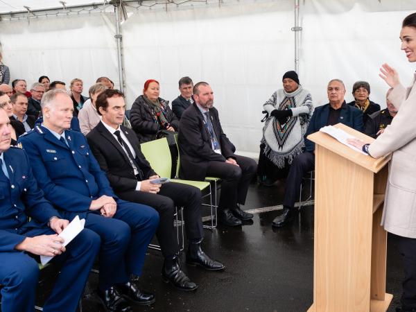 Prime Minister Jacinda Ardern addresses the gathering.
