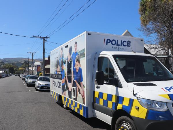 Mobile Police Community Hub on Castle Street, Dunedin