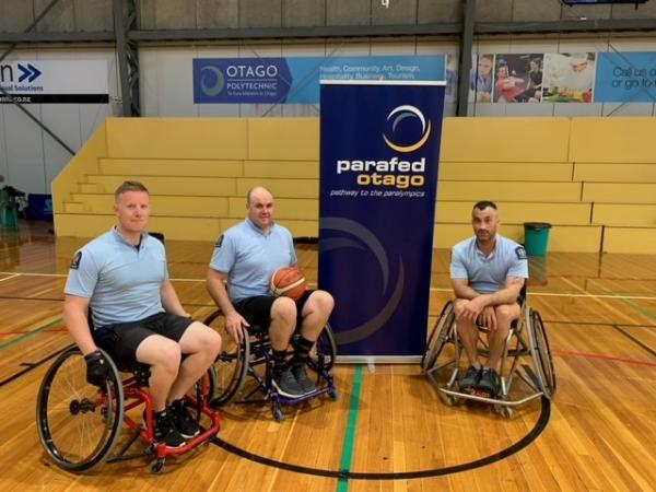 Constables Zane Elliman, Tim Coudret and Sergeant Adrian Cheyne gave wheelchair basketball a go as the Boys in Blue team