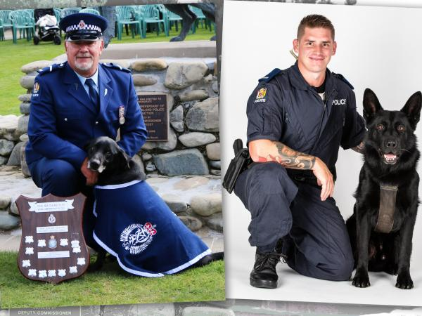 Senior Constable Ross Clarke with champ and retirement buddy Kea, left, and Constable Andrew Clarke and Vulcan.
