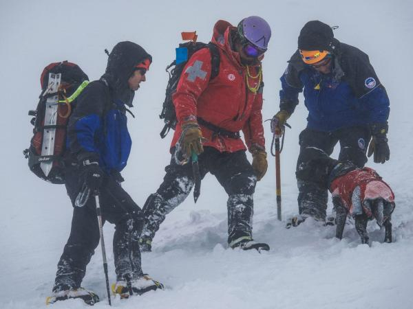 The Ruapehu Alpine Rescue Organisation during the rescue at Whangaehu Glacier on Mt Ruapehu in September 2020.
