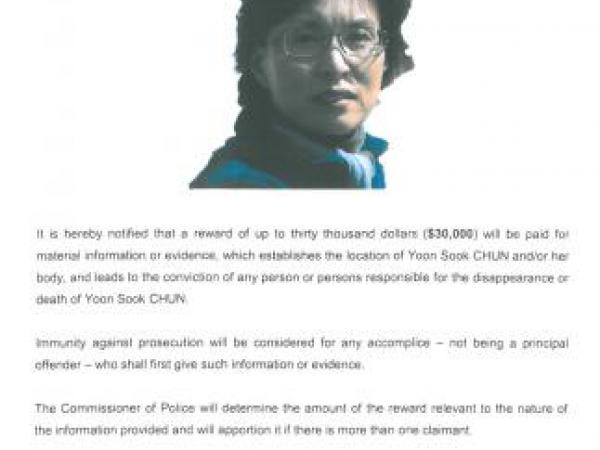 Reward poster to locate missing person Yoon Sook CHUN