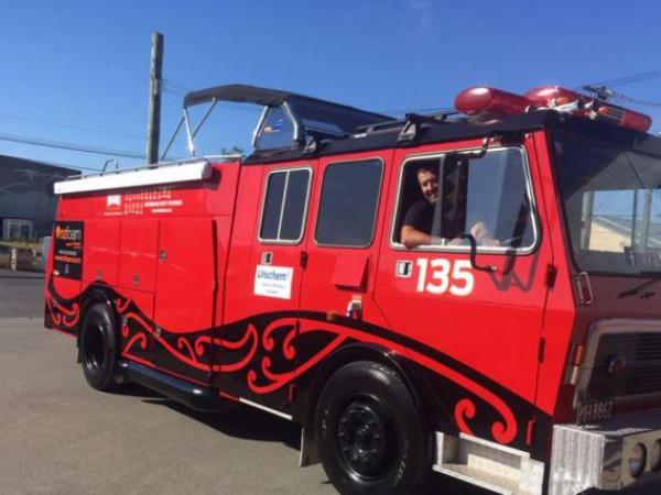 Police Sergeant Dougall Struthers is swapping his patrol car for a restored fire truck.