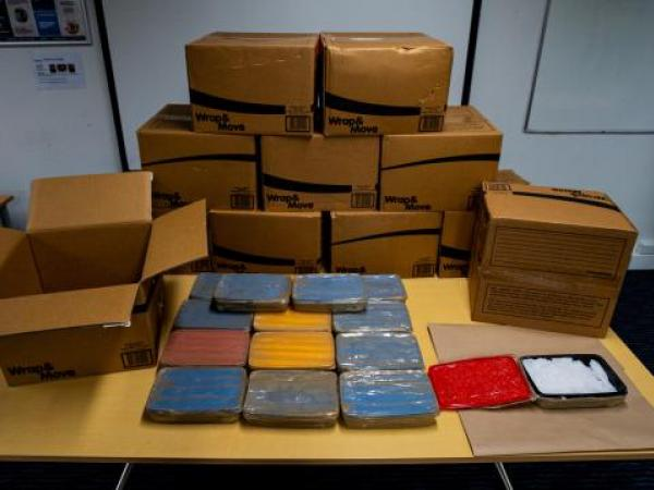 The boxes and containers seized