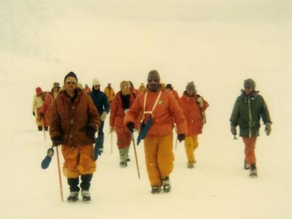 New Zealand Police team on the ice of Scott Base Antarctica, undertaking snow and ice training. Photo credit Stuart Leighton