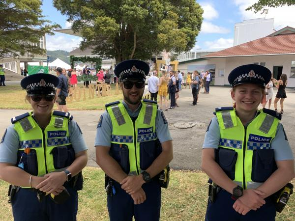 Wellington Police taking care of punters at the Trentham races