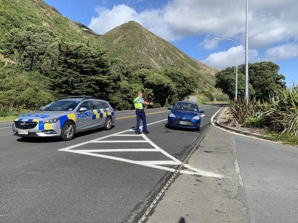 A Police checkpoint on SH1 at Paekakariki