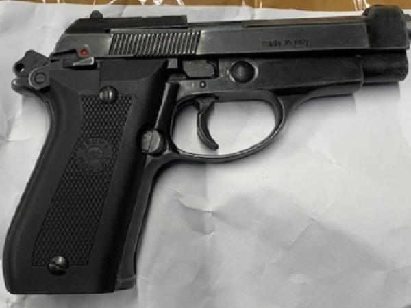 One of two pistols recovered from a search warrant