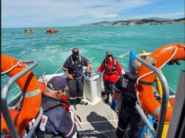 Personnel from Coastguard and Hawke's Bay SLS onboard the 'Celia Knowles'