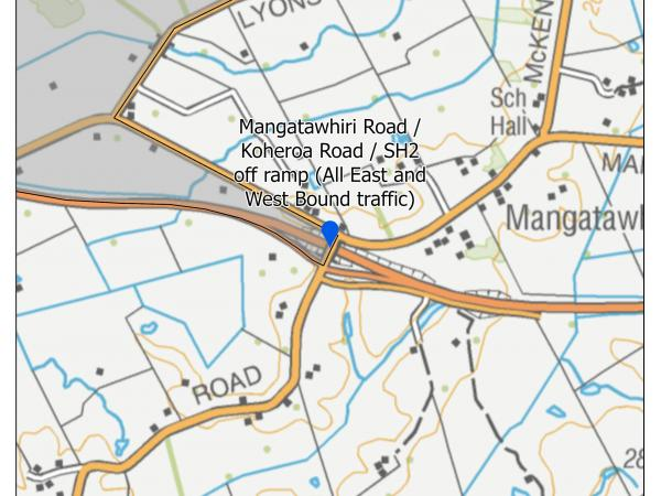 Mangatawhiri Road / Koheroa Road / SH2 off ramp (All East and West Bound traffic)