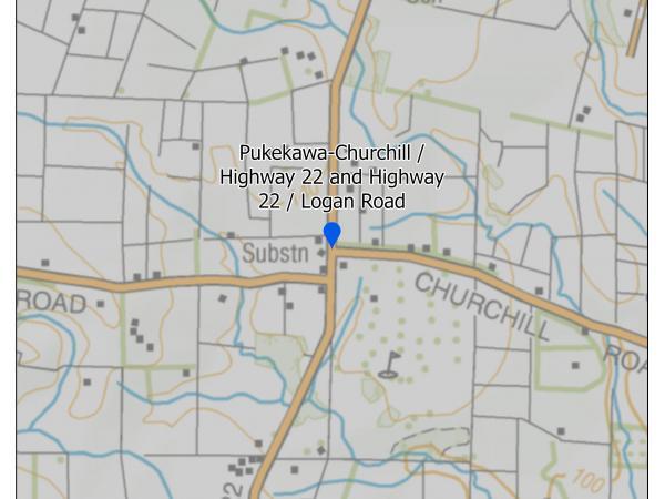 Pukekawa-Churchill / Highway 22 and Highway 22 / Logan Road