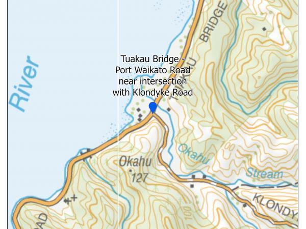 Tuakau Bridge-Port Waikato Road intersection with Klondyke Road