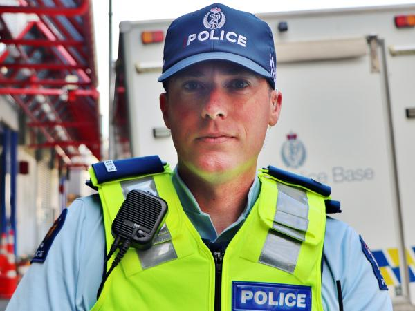 Constable Daniel Stone in the new Police cap