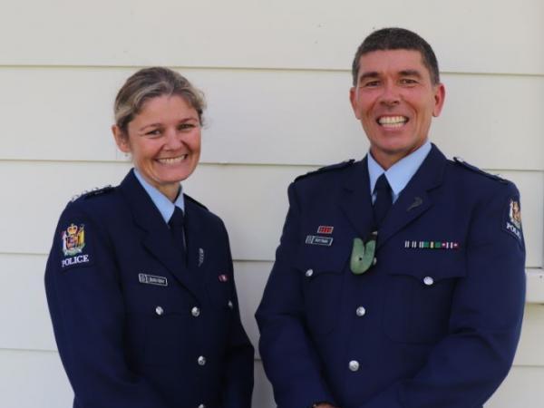 Superintendent Scott Fraser (right) with Taranaki Area Commander Inspector Belinda Dewar.