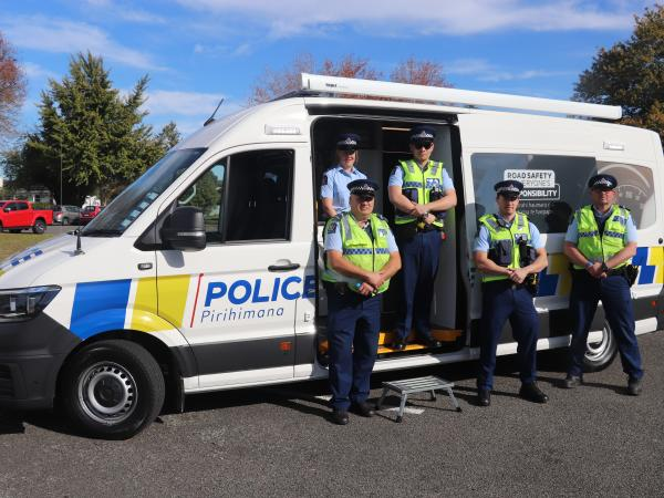 Eastern District staff with the new Mobile Road Safety Base