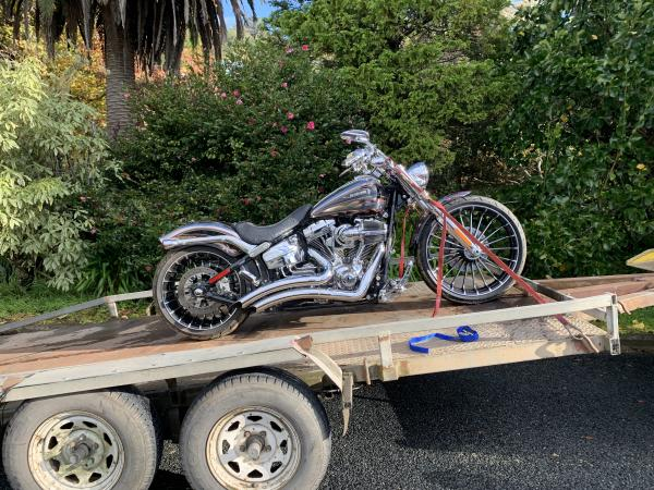 A Harley Davidson has been recovered from the address