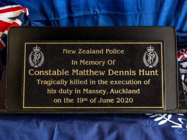Plaque for Constable Matthew Hunt