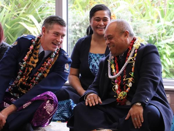 Commissioner of Police Andrew Coster, Su'a Noema Leota - Manager Human Resources New Zealand Police and Minster for Pacific Peop