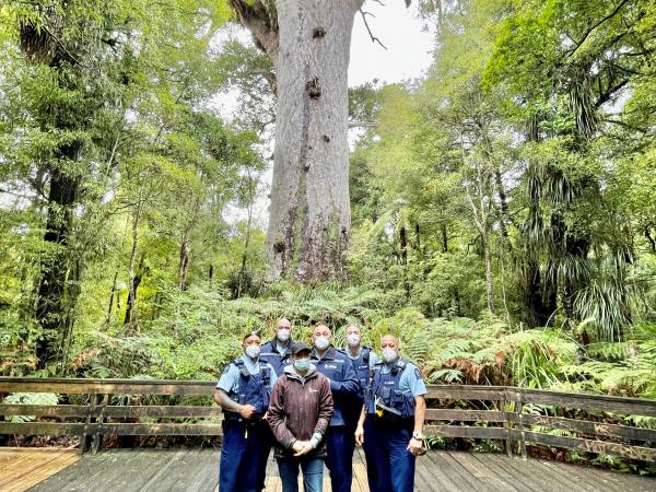 Some of the team at Tane Mahuta Forest Track, Waipoua Forest
