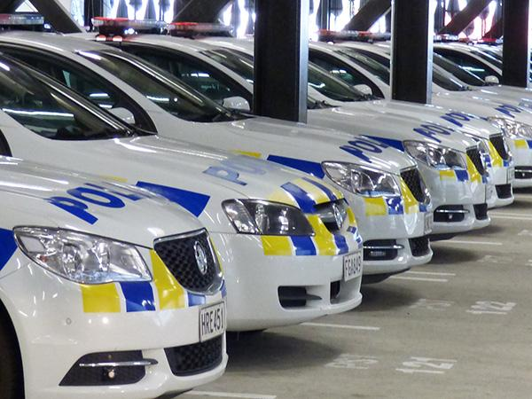 Multiple Police cars in a line