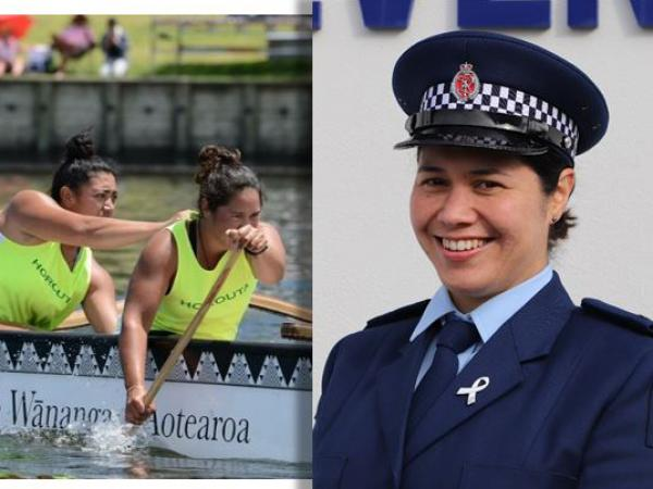 Constable Oriwia Taylor, indulging her passion for waka ama (front of waka) and on graduation day.