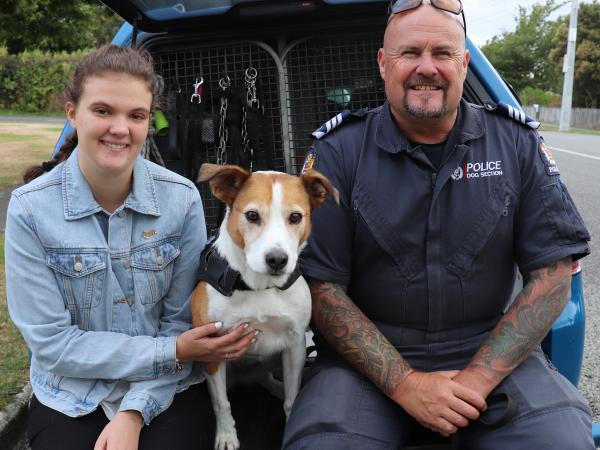 Merryn and now-Sergeant Matt Fage with detector dog Tas.