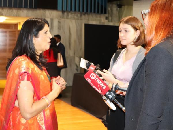 Ranjna Patel meets the media.