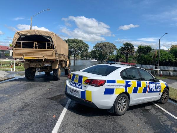An Army Unimog is being used to reach residents needing assistance.