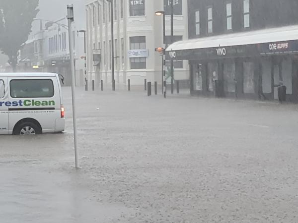 Flooding outside Napier Police Station on Monday night.