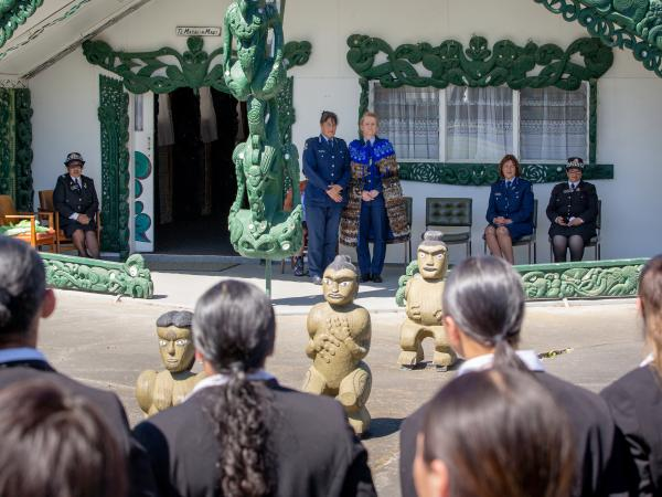 Hukarere Girls' College sing waiata at the Pōwhiri for new Eastern District Commander Jeanette Park