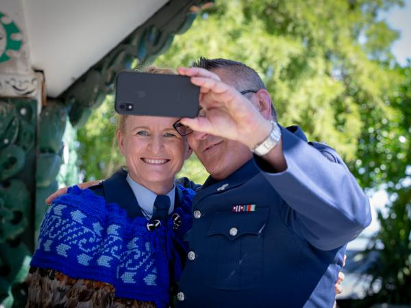Selfie time for Superintendent Jeanette Park and Tairāwhiti Area Commander Sam Aberahama