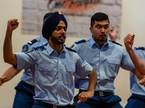 Constable Jagmeet Singh during the haka. (Photo credit: Gareth Davies)