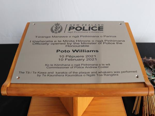 The plaque to mark the official opening of the new Porirua Police Hub.