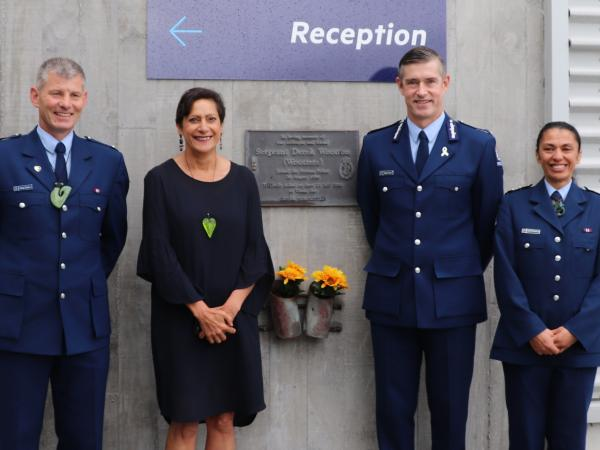 Wellington District Commander Superintendent Corrie Parnell, Police Minister Poto Williams, Commissioner Andrew Coster and Inspe
