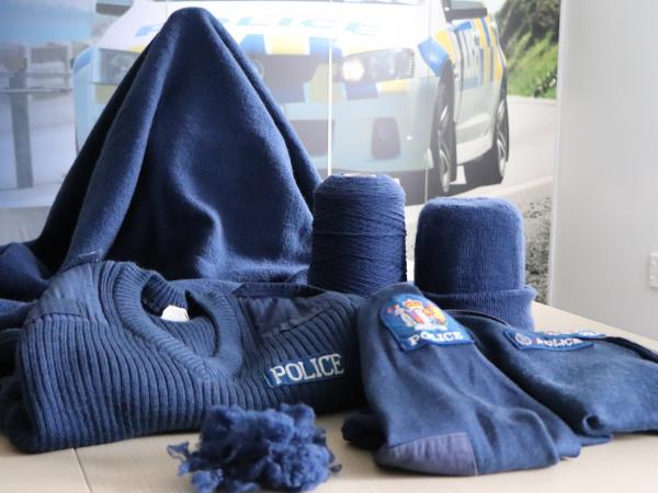 Old Police jerseys, the yarn they're being turned into, and one of the blankets.