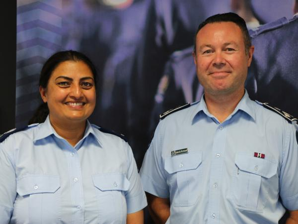 Mandeep and the head of Iwi and Communities, newly promoted Assistant Commissioner Chris de Wattignar.