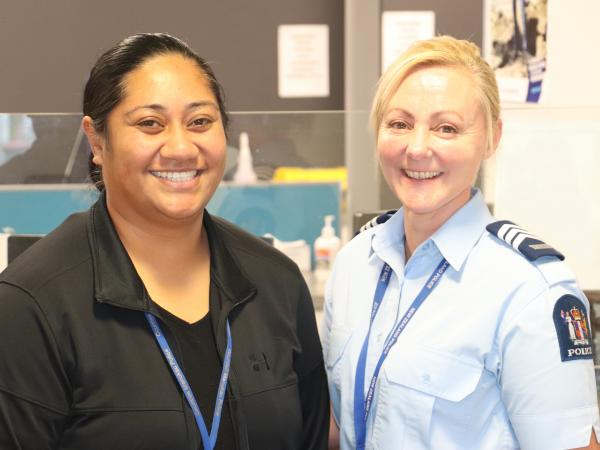 Fusi with her friend and colleague, acting Senior Sergeant MJ Riddle.