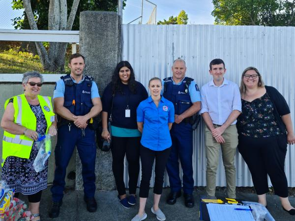 L to R: Sergeant Scott Munro and Senior Constable Pat O'Leary with representatives of various organisations involved in the 'Saf