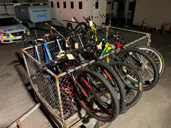 A trailer load of bikes that were recovered by Greymouth's PST5 and returned to their grateful owners.