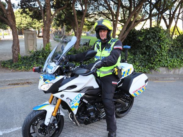 Senior Constable John McGrail on the new Yamaha.