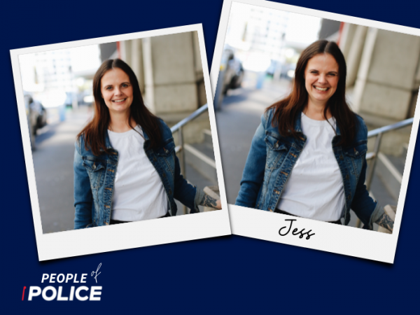 People of Police logo with two photos of Jess, the social media manager for New Zealand Police, on a dark blue background
