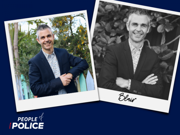 People of Police logo and 2 overlapping photos of Blair smiling at the camera. One colour and one black and white