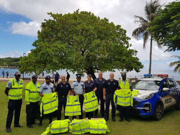 Staff in Vanuatu with some of the high-visibility vests and jackets supplied by New Zealand Police.