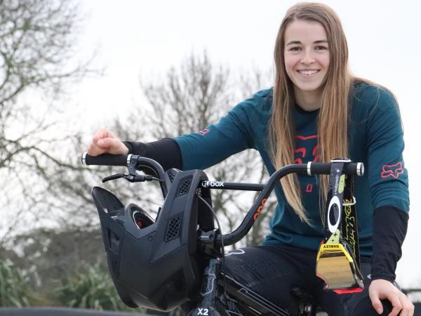 Rebecca Petch on her BMX bike.