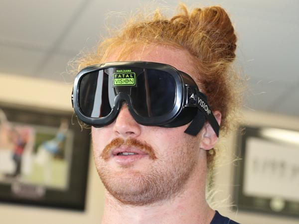 Lock Tom Robinson tries out the cannabis goggles.