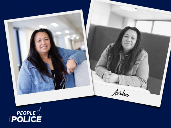 People of Police logo with two overlapping photos of Aroha on a dark blue background. One colour photo, one black and white.