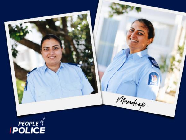 People of Police logo and two overlapping colour photos of Mandeep on a dark blue background