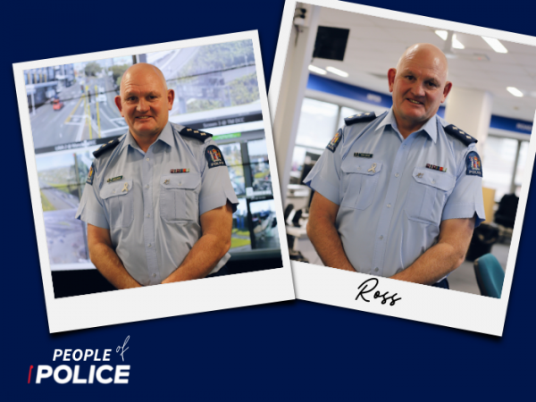 People of Police logo and two overlapping colour photos of Ross, all on a dark blue background.
