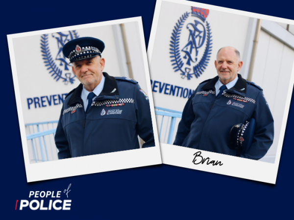People of Police logo and two overlapping colour photos of Brian, all on a dark blue background.