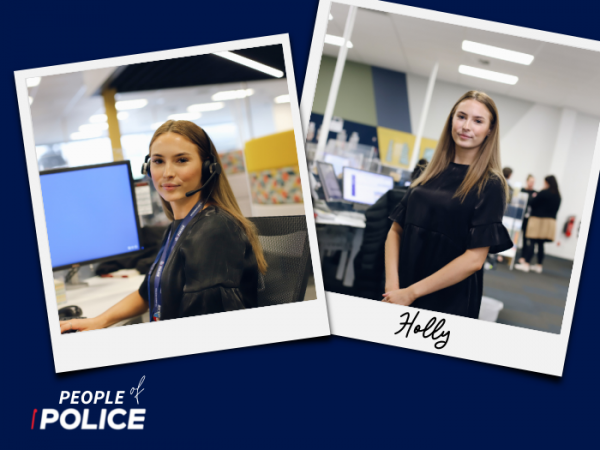 People of Police logo and two overlapping colour photos of Holly, all on a dark blue background.